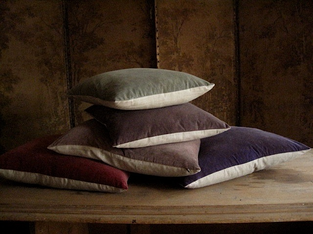 Eclectic Mix Of Pillows : New colours of hand dyed velvet cushions